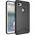 Sustiprintos apsaugos Google Pixel 2 XL juodas kieto silikono (TPU) ir plastiko dėklas
