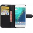 Google Pixel XL atverčiamas juodas odinis Litchi dėklas - piniginė