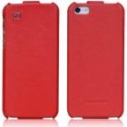 """Prabangus """"HOCO"""" Duke serijos odinis vertikaliai atverčiamas raudonas Apple iPhone SE (5, 5s) dėklas"""