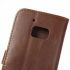 HTC 10 (Lifestyle) atverčiamas tamsiai rudas odinis retro dėklas - piniginė