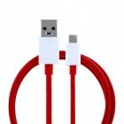 """Oficialus """"OnePlus"""" Fast Charging Type-C USB raudonas laidas 1 m (D301, originalus)"""