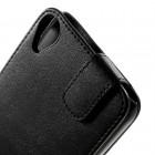 HTC Desire 820 klasikinis vertikaliai atverčiamas juodas odinis dėklas