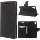 """HTC Desire 820 """"Mercury"""" juodas odinis atverčiamas dėklas - piniginė"""