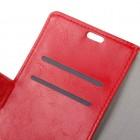 HTC Desire 825 atverčiamas raudonas odinis dėklas - piniginė