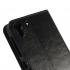 HTC Desire EYE atverčiamas juodas odinis dėklas - piniginė