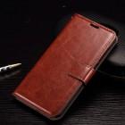 HTC One A9 atverčiamas rudas odinis dėklas - piniginė