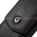 Universalus vertikalus juodas odinis dėklas prie diržo, L dydžio