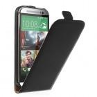 HTC One M8 klasikinis juodas odinis vertikaliai atverčiamas dėklas