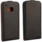 HTC One M9 klasikinis vertikaliai atverčiamas juodas odinis dėklas