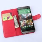 HTC One M9 atverčiamas raudonas odinis Litchi dėklas - piniginė