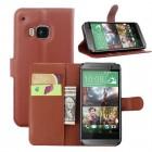 HTC One M9 atverčiamas rudas odinis Litchi dėklas - piniginė
