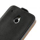Atverčiamas HTC One mini juodas odinis dėklas