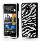 Dvigubas dryžuotas HTC One M7 baltas su juodu dėklas