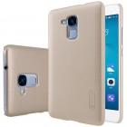 Huawei Honor 5c (Honor 7 Lite) Nillkin Frosted Shield auksinis plastikinis dėklas + apsauginė ekrano plėvelė