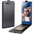 Huawei Honor 9 (Honor 9 Premium) klasikinis vertikaliai atverčiamas juodas odinis dėklas