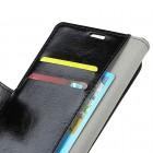 Huawei Mate 20 Pro atverčiamas juodas odinis dėklas - piniginė