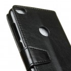Huawei P9 Lite 2017 (Huawei P8 lite 2017) atverčiamas juodas odinis dėklas, knygutė - piniginė