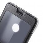 """Huawei P9 Lite 2017 (Huawei P8 Lite 2017) juodas odinis atverčiamas """"Smart Window"""" dėklas su langeliu"""