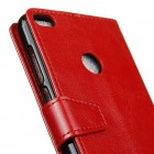 Huawei P9 Lite 2017 (Huawei P8 lite 2017) atverčiamas raudonas odinis dėklas, knygutė - piniginė