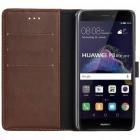 Huawei P9 lite 2017 (Huawei P8 Lite 2017) atverčiamas tamsiai rudas odinis retro dėklas - piniginė