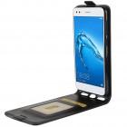 Huawei P9 Lite Mini (Y6 Pro 2017) vertikaliai atverčiamas juodas odinis dėklas - piniginė
