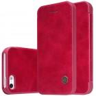 """Prabangus """"Nillkin"""" Qin serijos raudonas odinis atverčiamas Apple iPhone 5 (5s, SE) dėklas"""