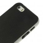 """Apple iPhone 5 (5s,SE) """"Walnutt"""" kieto silikono juodas dėklas  baltais apvadais dėklas"""