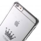 Apple iPhone 6 Plus (6s Plus) X-Fitted Crystal Icon Pro Crown Swarovski plastikinis skaidrus permatomas sidabrinis dėklas su kristalais