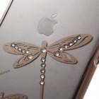 Apple iPhone 6 Plus (6s Plus) X-Fitted Crystal Icon Pro Dragonfly Swarovski plastikinis skaidrus permatomas auksinis dėklas su kristalais