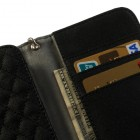 Universali juoda odinė telefono piniginė - dėklas (L dydis)