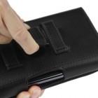 Universali juodas odinis karboninis dėklas prie diržo (XL dydis)