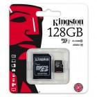 """""""Kingston"""" MicroSD atminties kortelė 128 Gb, 10 Klasė su SD adapteriu"""