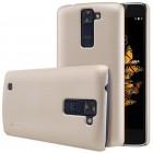 LG K8 (K350N) Nillkin Frosted Shield auksinis plastikinis dėklas + apsauginė ekrano plėvelė