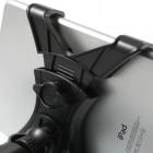 Juodas automobilinis planšetės laikiklis tvirtinamas prie galvos atlošo