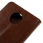 Motorola Moto Z (Moto Z Droid) atverčiamas rudas odinis dėklas - piniginė