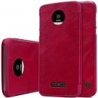 """Prabangus """"Nillkin"""" Qin serijos raudonas odinis atverčiamas Motorola Moto Z (Moto Z Droid) dėklas"""