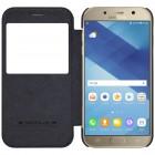 """Prabangus """"Nillkin"""" Qin serijos juodas odinis atverčiamas Samsung Galaxy A5 (2017) A520 dėklas - knygutė"""