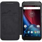 """Prabangus """"Nillkin"""" Qin serijos juodas odinis atverčiamas Motorola Moto G4, Moto G4 Plus dėklas"""