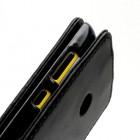 Atverčiamas juodas odinis Nokia Lumia 520 dėklas