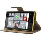 Juodas odinis atverčiamas Nokia Lumia 520 dėklas - piniginė