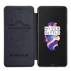 """Prabangus """"Nillkin"""" Qin serijos juodas odinis atverčiamas OnePlus 5 (OnePlus Five) dėklas"""