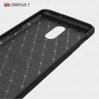 """OnePlus 7 (OnePlus Seven) """"Carbon"""" kieto silikono TPU juodas dėklas - nugarėlė"""