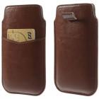 Ruda odinė universali įmautė (L dydis) su kišenėle kortelėms