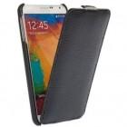 Vertikaliai atverčiamas juodas odinis Samsung Galaxy Note 3 N9005 dėklas