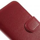Samsung Galaxy Core LTE G386 atverčiamas raudonas odinis Litchi dėklas - piniginė