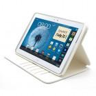 Atverčiamas baltas odinis Samsung Galaxy Note 10.1 N8000 (N8010) dėklas (dėkliukas) - piniginė