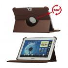 Atverčiamas rudas odinis Samsung Galaxy Note 10.1 N8000 (N8010) dėklas (dėkliukas), sukiojamas 360°
