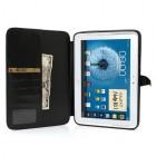 Atverčiamas juodas odinis Samsung Galaxy Note 10.1 N8000 (N8010) dėklas (dėkliukas) - piniginė