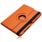 Atverčiamas oranžinis odinis Samsung Galaxy Note 10.1 N8000 (N8010) dėklas (dėkliukas), sukiojamas 360°