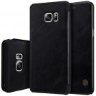 """Prabangus """"Nillkin"""" Qin serijos juodas odinis atverčiamas Samsung Galaxy Note 7 (N930) dėklas"""